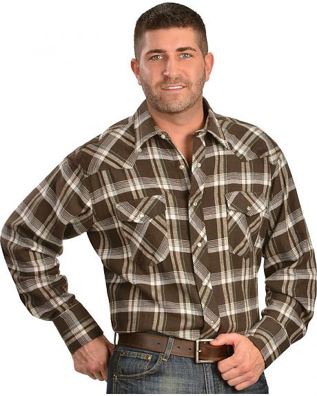 Wrangler Assorted Plaid 4.5 oz. Flannel Western Shirts - Tall