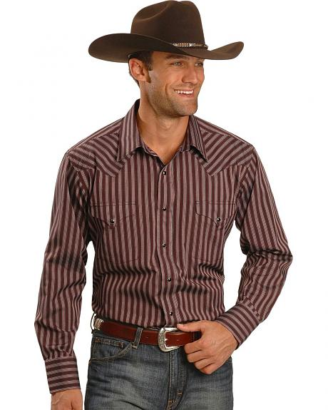 Panhandle Slim Satin Burgundy Stripe Dress Shirt - Tall