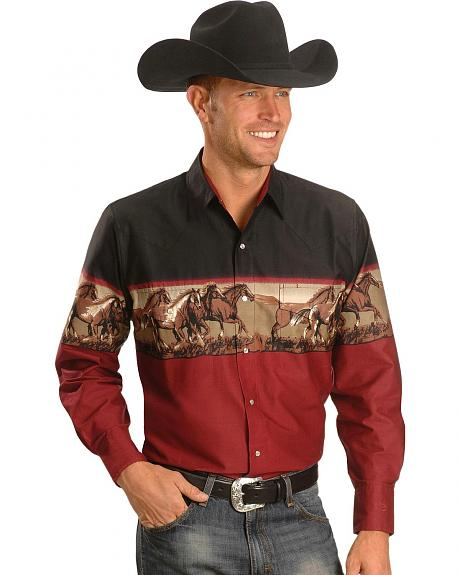 Cumberland Outfitters Men's Running Horse Border Western Shirt - Tall