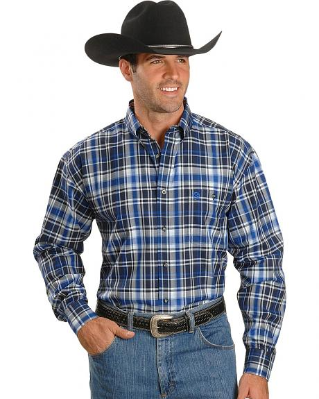 Wrangler George Strait Blue & White Plaid Shirt - Tall
