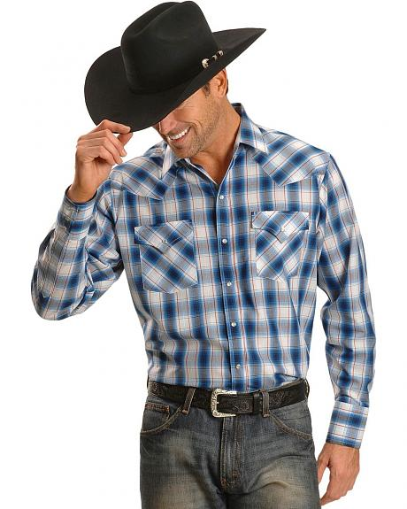 Ely Light Blue Plaid Western Shirt - Big