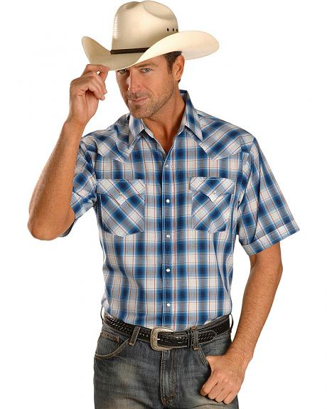 Ely Short Sleeve Light Blue Plaid Western Shirt - Tall