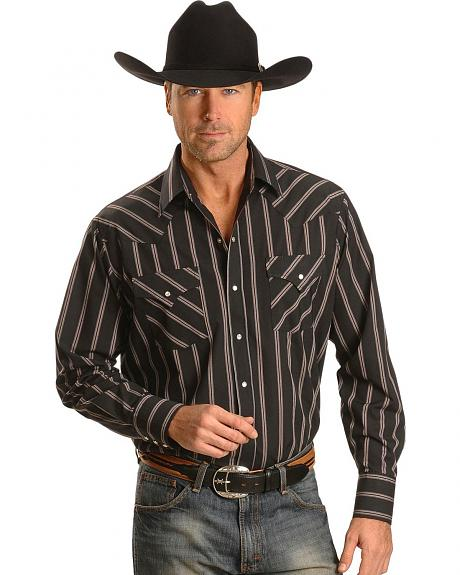 Ely Striped Black Western Shirt - Tall