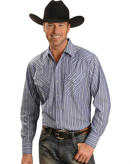 Ely Dark Blue Striped Western Shirt - Tall