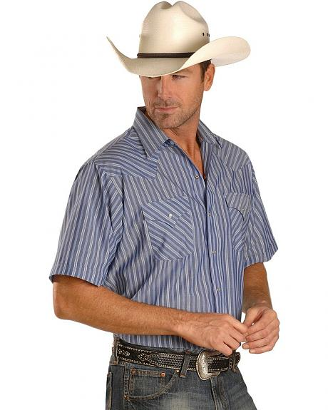 Ely Short Sleeve Dark Blue Striped Western Shirt - Tall