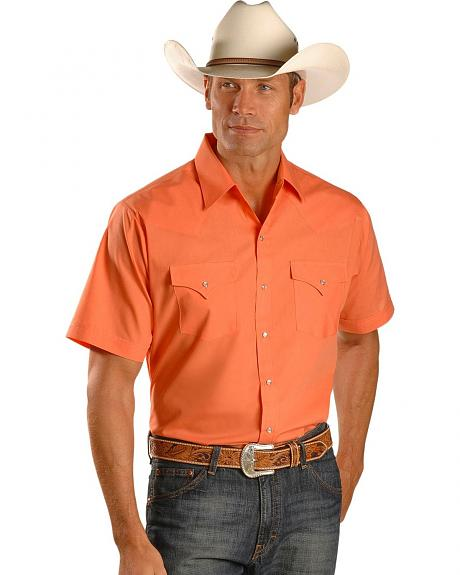Ely Peach Classic Short Sleeve Western Shirt - Tall