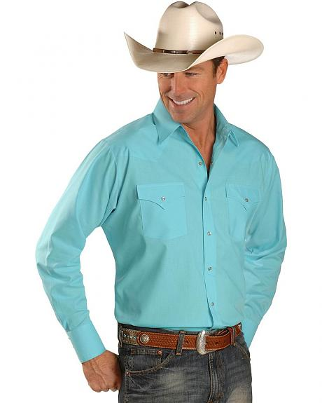 Ely Turquoise Classic Long Sleeve Western Shirt - Tall