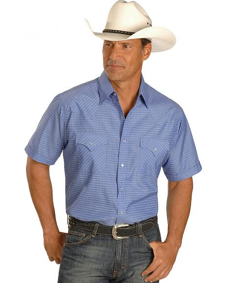 Ely Blue Dobby Check Western Shirt - Tall