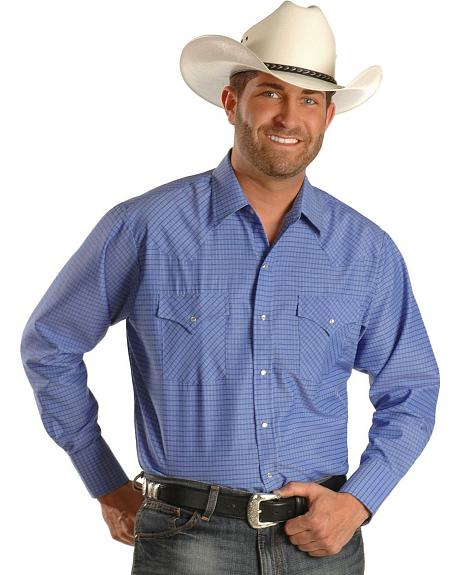 Ely Cattleman Checkered Dobby Blue Long Sleeve Western Shirt - Tall