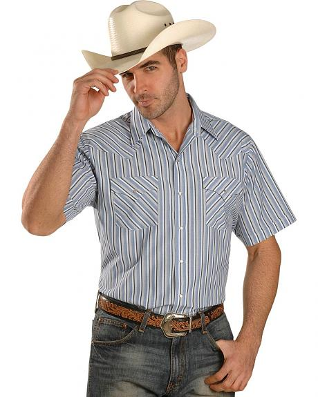 Ely Blue Dobby Striped Western Shirt - Tall