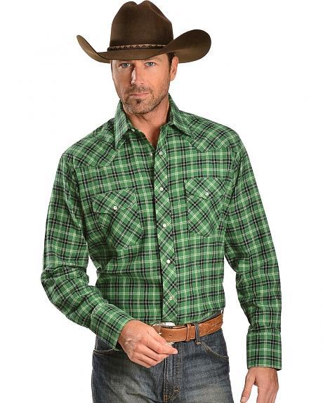 Wrangler Green & Black Plaid 4.5 oz. Flannel Western Shirt - Big & Tall