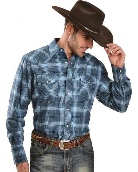 Wrangler Blue Plaid 4.5 oz. Flannel Shirt - Big & Tall