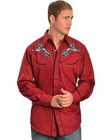 Red Ranch Embroidered Skull Long Sleeve Shirt - Big & Tall