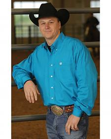 Cinch Long Sleeve Button-Down Solid Teal Shirt - Big & Tall