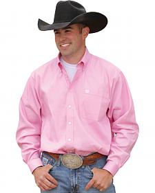 Cinch Long Sleeve Button-Down Solid Pink Shirt - Big & Tall