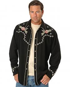 Scully Roses & Cowboy Skeleton Embroidered Retro Western Shirt - Big & Tall