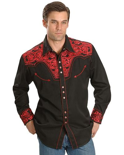 Scully Crimson Floral Embroidery Retro Western Shirt - Big  Tall $88.99 AT vintagedancer.com