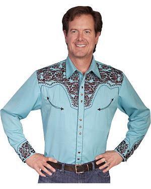 Scully Turquoise Embroidery Retro Western Shirt - Big & Tall