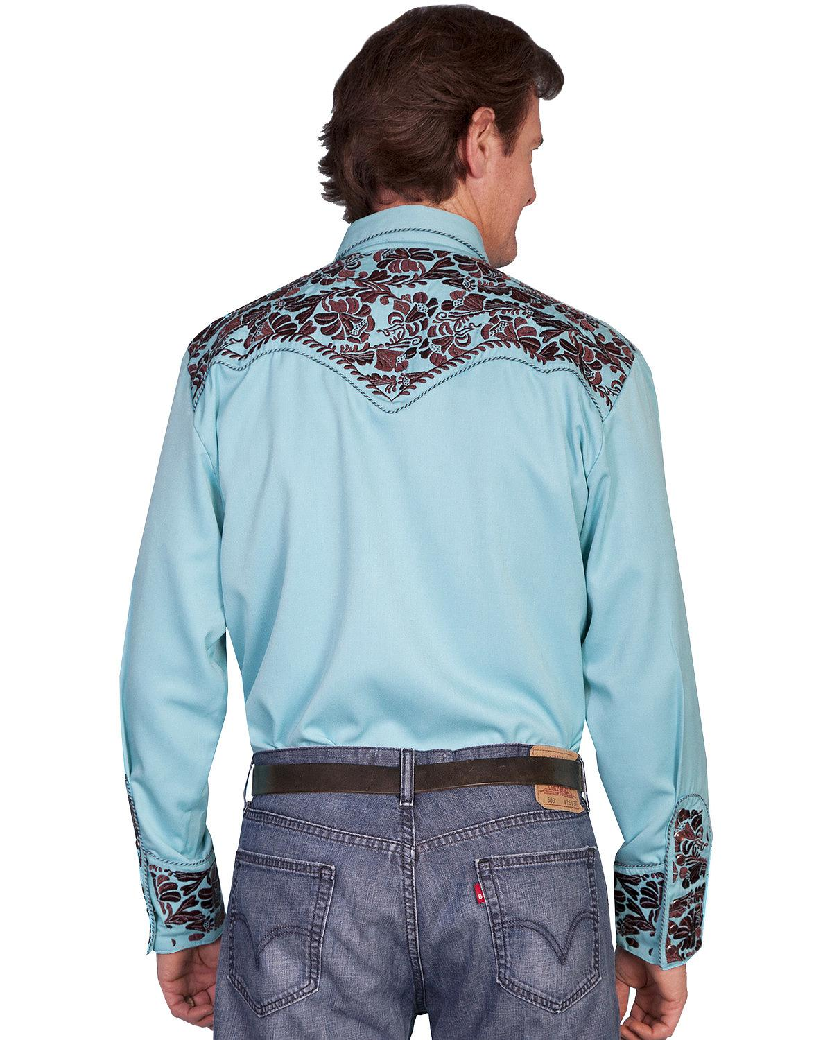 Scully Men 39 S Turquoise Embroidery Retro Western Shirt Big