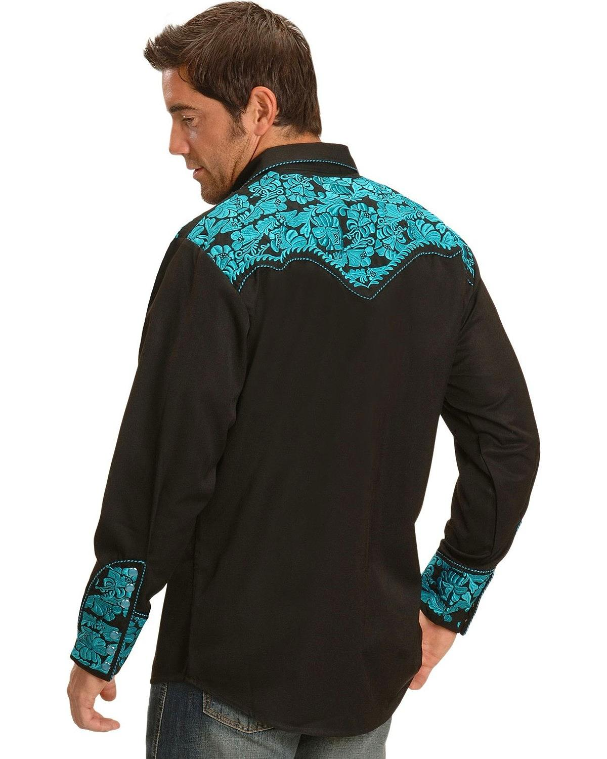 Scully men 39 s turquoise embroidery retro western shirt big for Tall size dress shirts