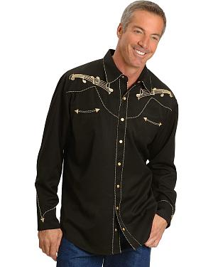 Scully Music Note Embroidered Retro Western Shirt - Big & Tall