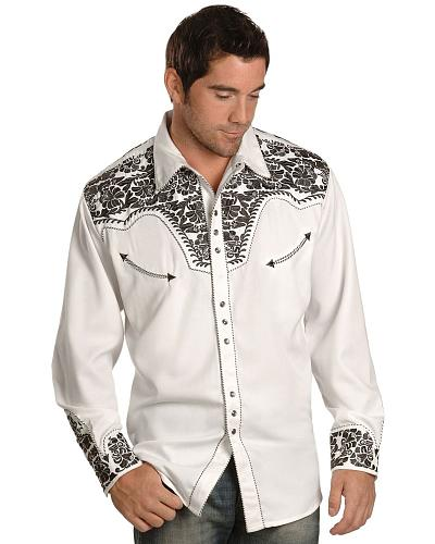 Scully Pewter-tone Embroidery Retro Western Shirt - Big  Tall $88.99 AT vintagedancer.com