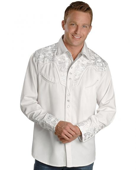 Scully White Floral Embroidery Retro Western Shirt - Big & Tall