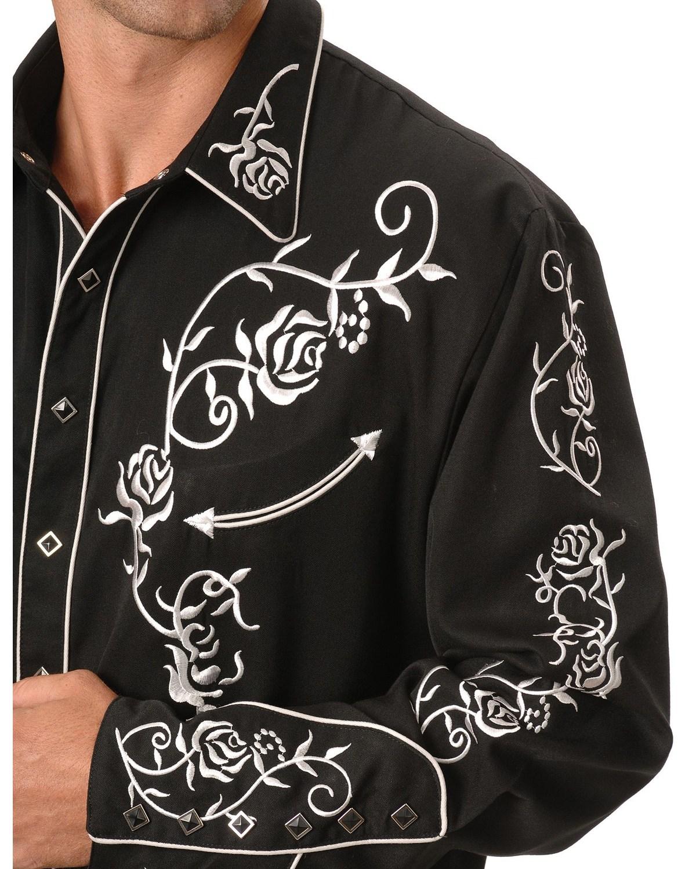 Scully Men 39 S Floral Embroidered Vintage Western Shirt Big
