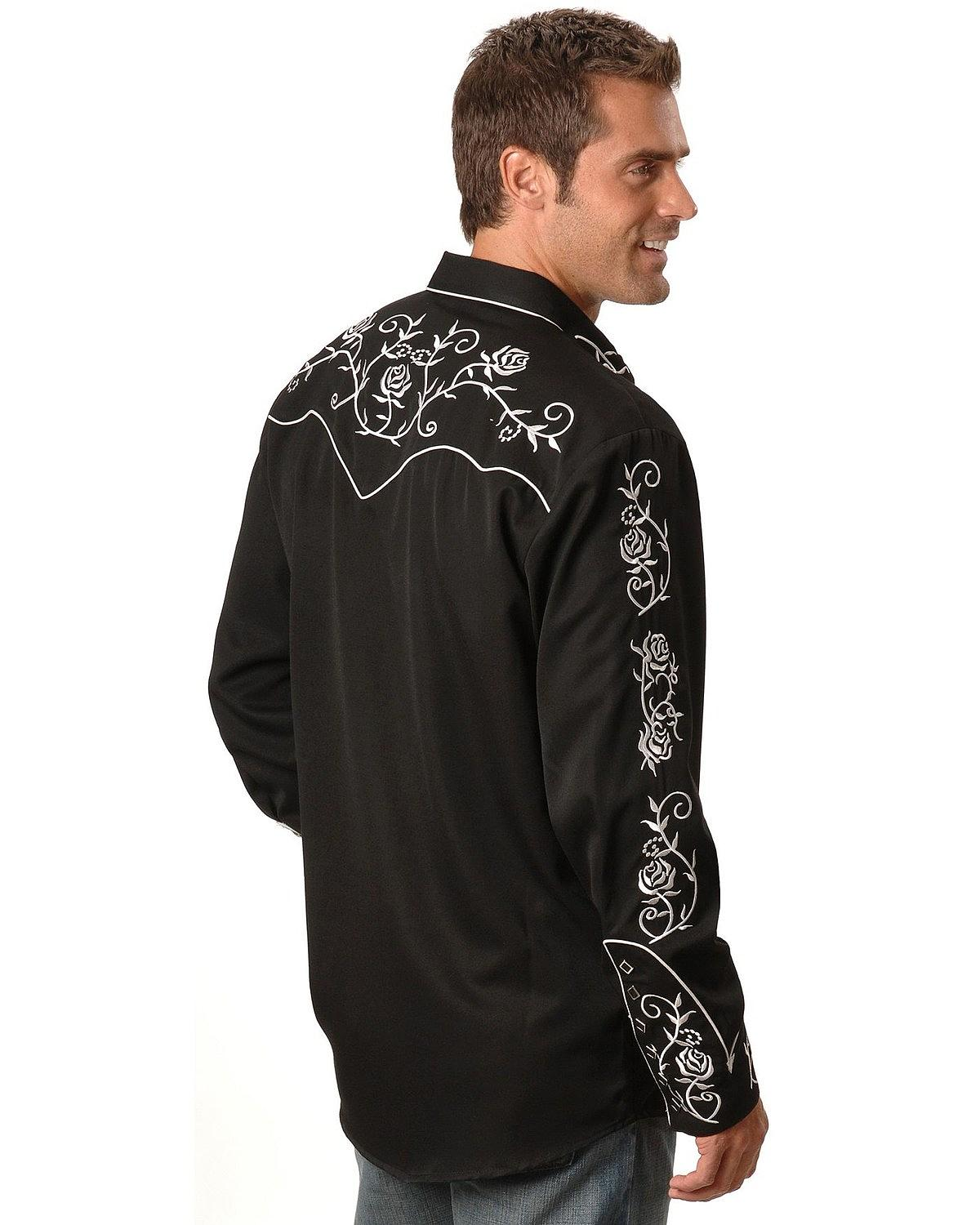 Scully men 39 s floral embroidered vintage western shirt big for Men s big tall shirts