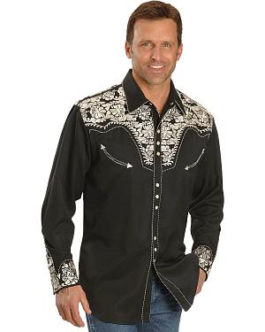 Scully Floral Embroidered Retro Shirt - Big