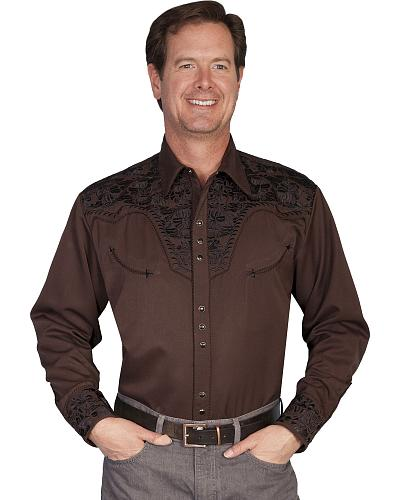 Scully Multi-Color Floral Embroidery Retro Western Shirt - Big $88.99 AT vintagedancer.com