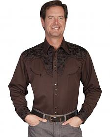 Scully Multi-Color Floral Embroidery Retro Western Shirt - Big