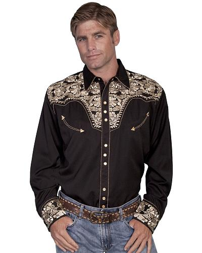 Scully Embroidered Red Retro Western Shirt - Big $91.99 AT vintagedancer.com