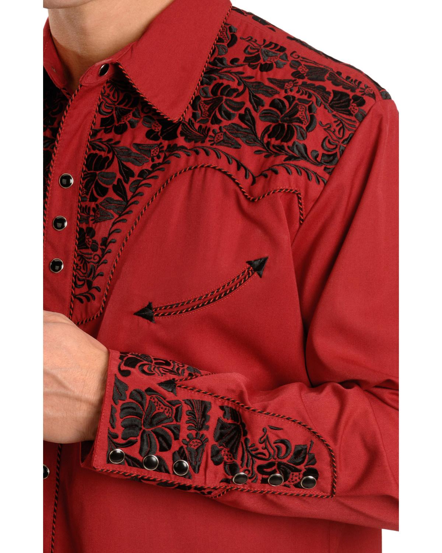Scully Masculino Camisa Bordado Retrô Western-grande e de altura-P-634X Gld