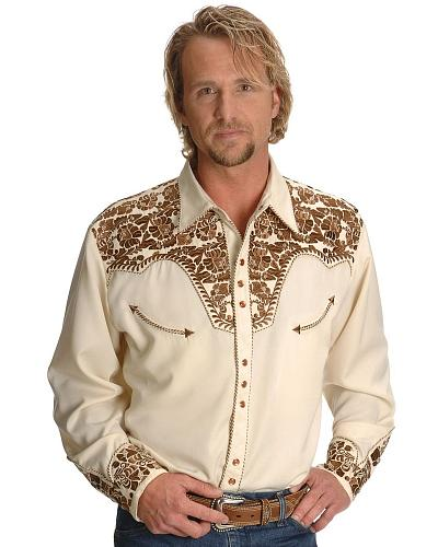 Scully Gunfighter Heavily Embroidered Retro Western Shirt - Big $88.99 AT vintagedancer.com