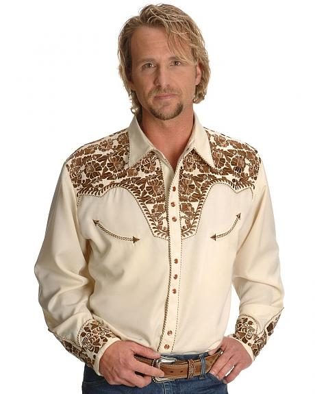 Scully Gunfighter Heavily Embroidered Retro Western Shirt - Big
