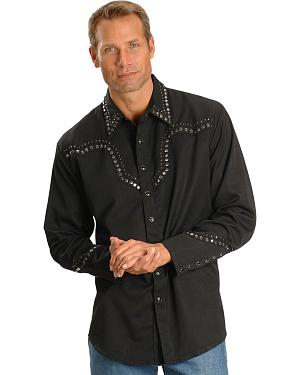 Scully Studded Black Retro Western Shirt - Big