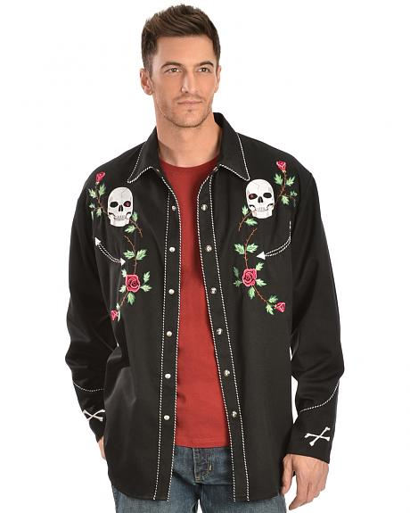 Scully Skull & Roses Embroidered Retro Western Shirt - Big