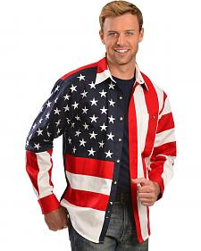 Scully Patriotic American Flag Western Shirt - Big