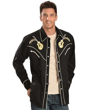 Scully Rock N Roll Guitar Embroidered Retro Western Shirt - Big