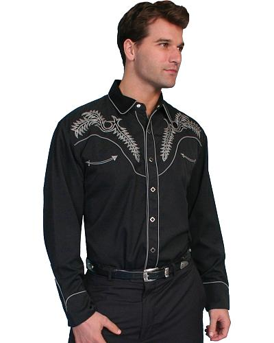 Scully Boot Stitch Embroidery Retro Western Shirt - Big $83.99 AT vintagedancer.com