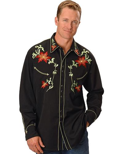 Scully Floral Embroidered Shirt Western & Country P-633X BLK