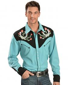 Scully Rose & Horseshoe Embroidered Retro Western Shirt - Big & Tall