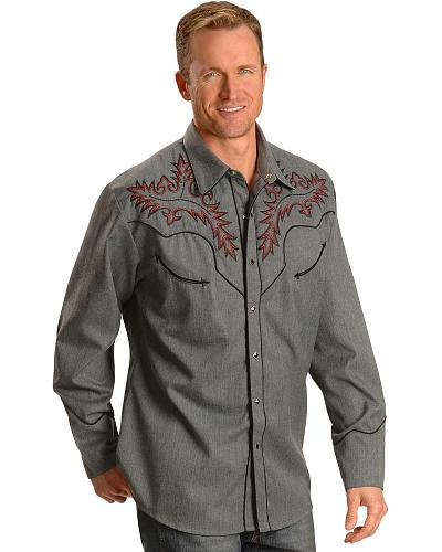 Scully Boot Stitch Embroidered Retro Western Shirt $88.99 AT vintagedancer.com