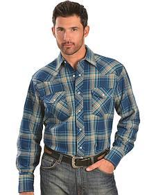 Wrangler Blue & Tan Plaid 6.5 oz. Flannel Western Shirt - Tall
