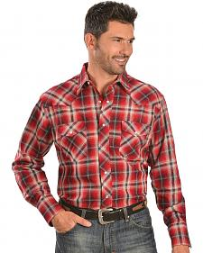 Wrangler Red & White Plaid 6.5 oz. Flannel Western Shirt - Tall