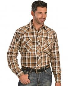 Wrangler Tan & Brown Plaid 6.5 oz. Flannel Western Shirt - Tall