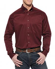 Ariat Burgundy Twill Cowboy Shirt - Big & Tall