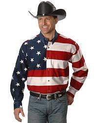 Roper Flag Print Shirt Big Tall Sheplers