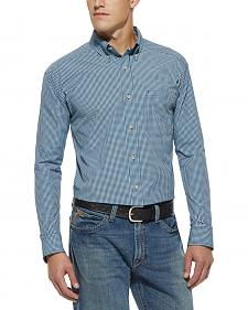 Ariat Men's Ridley Small Check Navy Shirt - Big & Tall